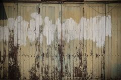 Old ancient wooden swing door background. Vintage of old wooden Stock Photo