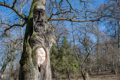 Old ancient wooden two faced idol of ukrainian warrior carved from tree Royalty Free Stock Image