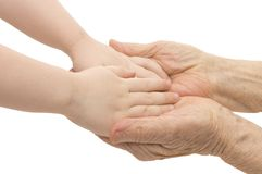 Old And Children Hands Royalty Free Stock Photos