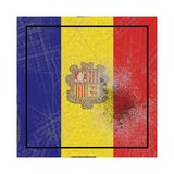 Old Andorra flag. 3d rendering of an Andorra country flag on a rusty surface stock illustration
