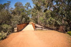 An old and a new pedestrian walking bridge in John Forrest National Park. Westerna Australia royalty free stock photo