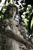 Old angel statue. In a garden with sun beam Royalty Free Stock Images