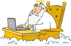 Old Angel using a laptop. This illustration depicts an old angel sitting at a desk in the clouds using a laptop computer Royalty Free Stock Photos