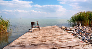 Old angler pier,at Lake Balaton Royalty Free Stock Image