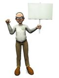 Old angry man holding blank sign. Royalty Free Stock Photos