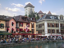 Old Annecy restaurants, France Royalty Free Stock Photography