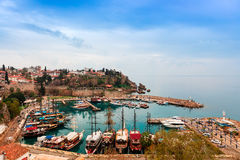 Old Antalya, small historic section at the centre of modern sprawling city. Royalty Free Stock Photo