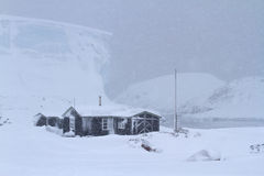 Old Antarctic research station during a snowfall Royalty Free Stock Photography