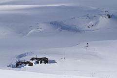 Old Antarctic research station in winter day Royalty Free Stock Photo