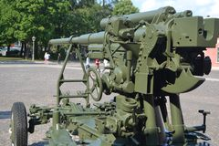 Old anti-aircraft gun Stock Images
