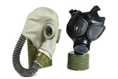 Old Anti-Gas Masks. Isolated on White Royalty Free Stock Photos
