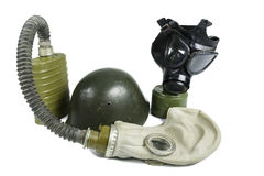 Old Anti-Gas Masks and Military Helmet Royalty Free Stock Photos