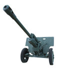 Old anti-tank cannon gun over white Stock Photos