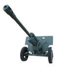 Old anti-tank cannon gun over white Stock Photos