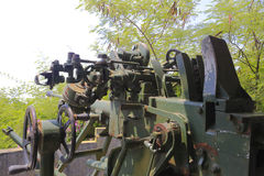 Old antiaircraft gun rear view. Antiaircraft gun in battle park, amoy city, china Royalty Free Stock Photography