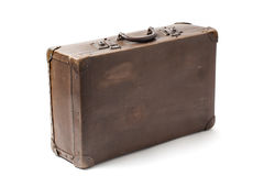 Old Antiquated Suitcase On White Stock Images