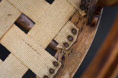 Old Antique Arm Chair For Wood Inlay Repair And Upholstery Resto Royalty Free Stock Photo