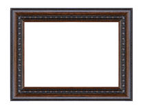 Old antique black frame isolated decorative carved wood stand stock photos