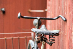Old antique black men`s bicycle Stock Photography