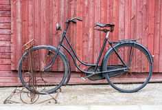 Old antique black men`s bicycle Stock Photos
