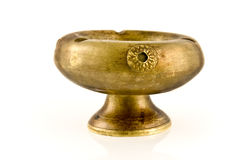 Old antique brass ashtray Stock Image