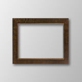Old Antique Brown Frame With Shadows On White Background. Stock Photos