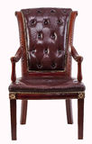 Old antique brown/red leather wing armchair eighteenth and nineteenth century Royalty Free Stock Image