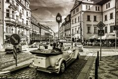 Old and antique car on a street in Prague Royalty Free Stock Images