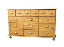 Old antique chest of drawers  on white background Royalty Free Stock Image