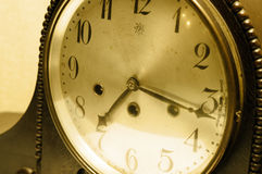 Old Antique Clock. With sepia effect Stock Photos