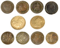 Old Antique Coins and Sovereigns royalty free stock images