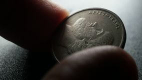 Close up of very old coins stock video footage