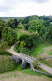 Old antique fairy tsale stone bridge in isometric perspective Royalty Free Stock Image