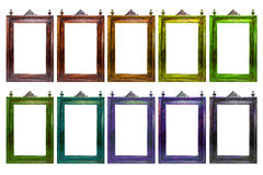 Old antique frame in different color. Isolated on white background Stock Image
