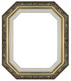 Old antique gold and black frame isolated decorative carved wood stand stock image