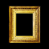 Old antique gold frame isolated on black background Royalty Free Stock Images