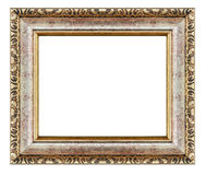 Old antique gold frame isolated decorative carved wood stand royalty free stock photography