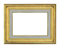 Old antique gold frame isolated on white Stock Photos