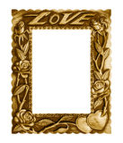 Old antique gold frame love isolated on white background. Royalty Free Stock Images
