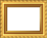 The old antique gold frame over white background Royalty Free Stock Images