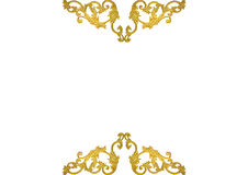 Old antique gold frame Stucco walls greek culture roman vintage style pattern line design for border isolated on white background Royalty Free Stock Images