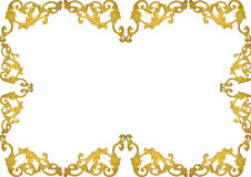 Old antique gold frame Stucco walls greek culture roman vintage style pattern line design for border isolated on white background Royalty Free Stock Photo