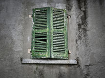 Old antique gree window Royalty Free Stock Photo