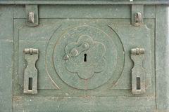 The old antique iron safe background. Royalty Free Stock Images