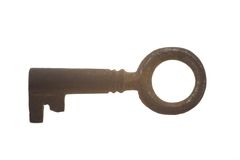 Old antique key on white background. Old key isolated on white background Royalty Free Stock Photos