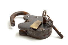 Old Antique Lock with Key. An old, antique vintage lock with keys on a white background stock photo