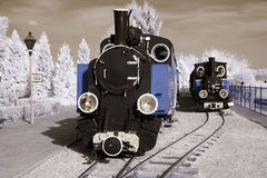 Old and antique locomotives. Royalty Free Stock Images