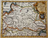 Antique map of Poland. Old, antique map of Poland engraved by De Fer and published in 1721 royalty free stock photo