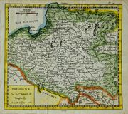 Old map of Poland. Old, antique map of Poland engraved by Robert Vaugondy and published in 1764 royalty free stock image