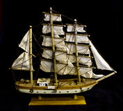 Old Antique Model Ship on Black Background royalty free stock images